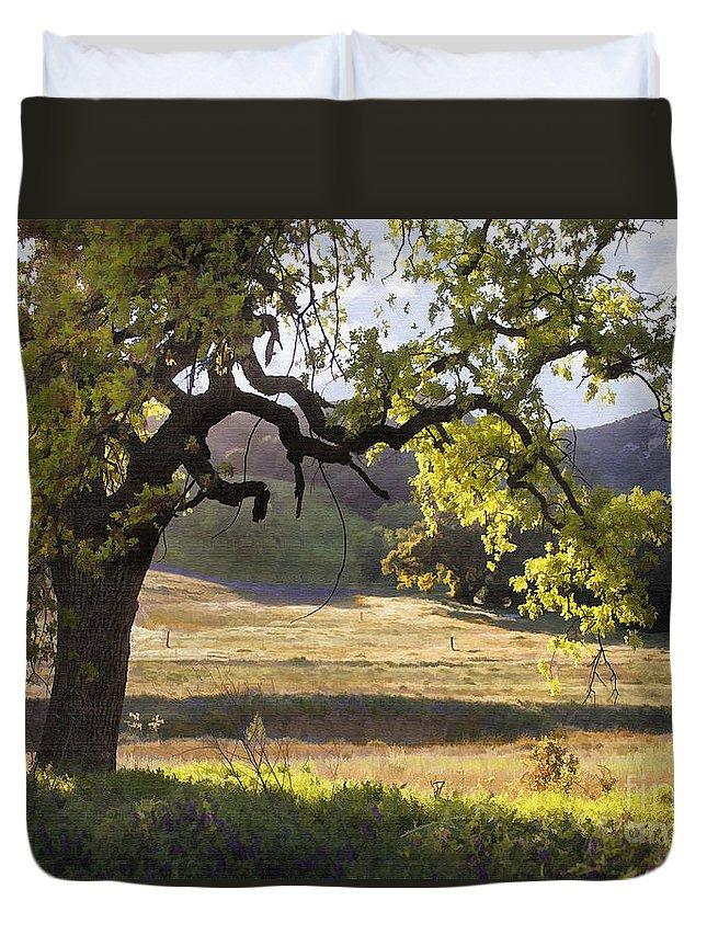 Oak Duvet Cover featuring the digital art Golden Oaks by Sharon Foster