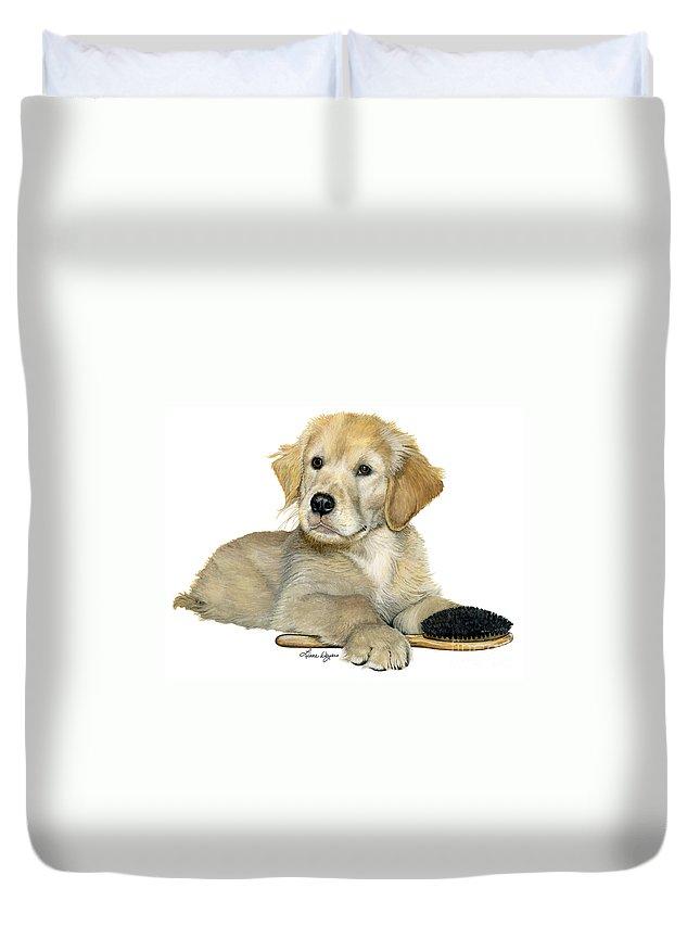 Golden Retriever Puppy Dog Playing Hair Brush Fuzzy Happy Cute Liane Weyers Artist Painting Duvet Cover featuring the painting Golden Retriever Puppy by Liane Weyers