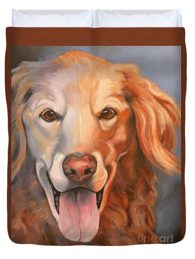 Dogs Duvet Cover featuring the painting Golden Retriever Till There Was You by Susan A Becker
