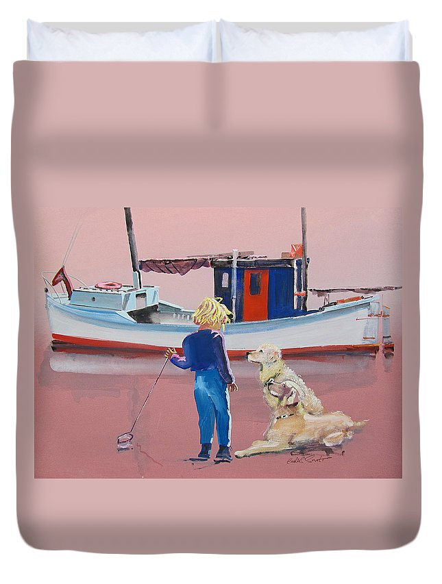 Retriever Duvet Cover featuring the painting Golden Retrievers by Charles Stuart