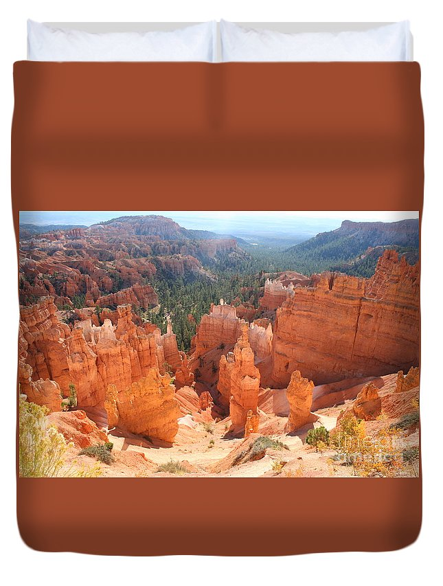 Canyon Duvet Cover featuring the photograph Golden Rocks Of Bryce Canyon by Christiane Schulze Art And Photography