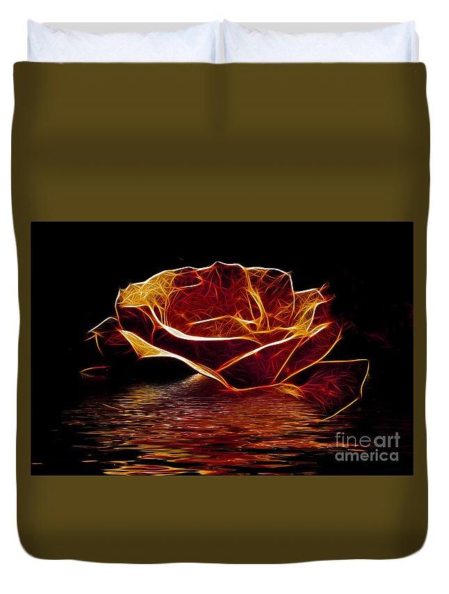 Flowers Duvet Cover featuring the photograph Golden Rose by Ben Yassa