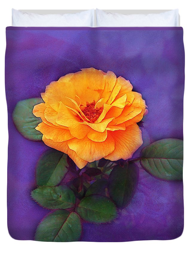 Orange Duvet Cover featuring the photograph Golden Rose by Judi Bagwell