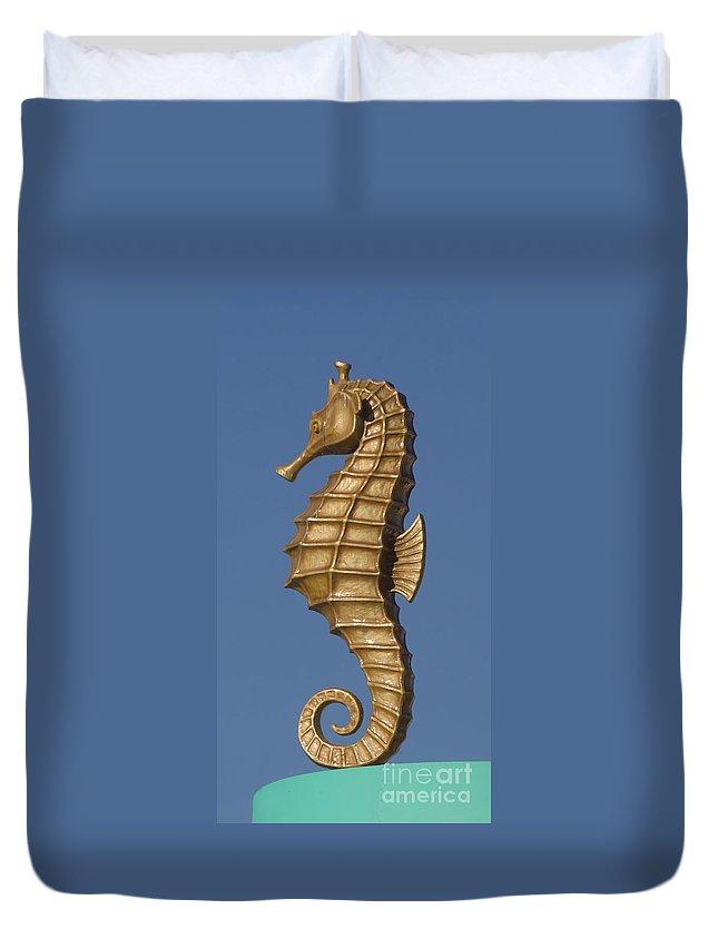 Santa Cruz Duvet Cover featuring the photograph Golden Seahorse by Jim And Emily Bush