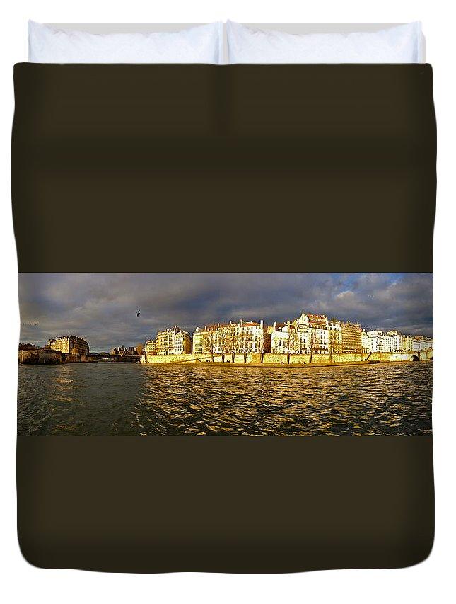 Paris Duvet Cover featuring the photograph Golden Seine by Lexi Heft