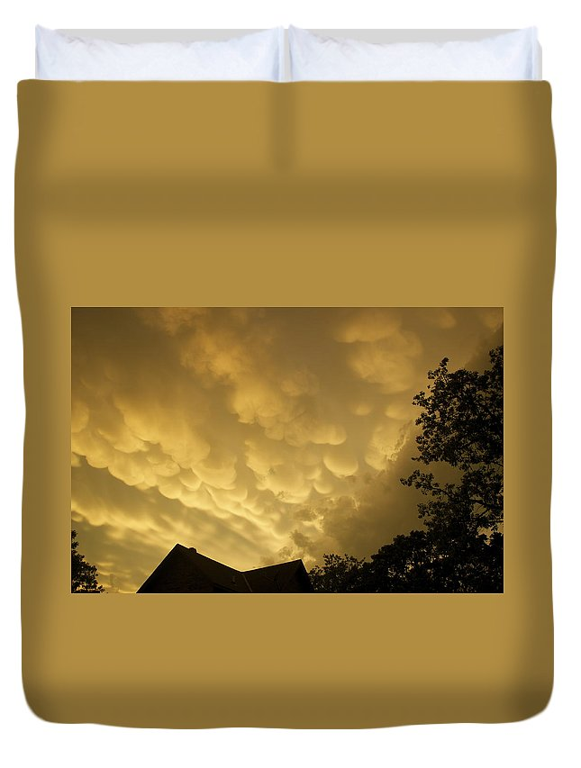 Golden Duvet Cover featuring the photograph Golden Sky's by Terry Anderson