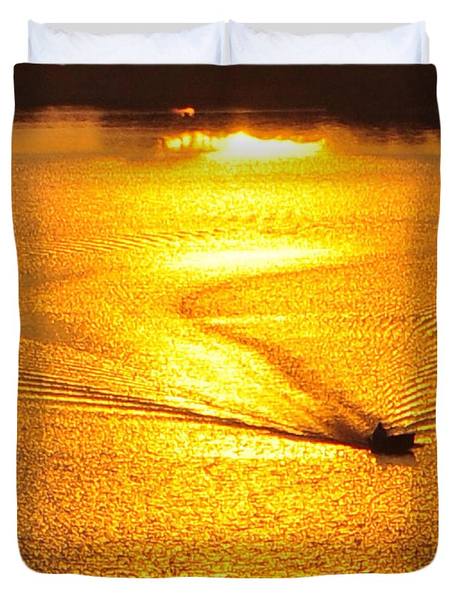 Sunrise Duvet Cover featuring the photograph Golden Sun by Ned Cate