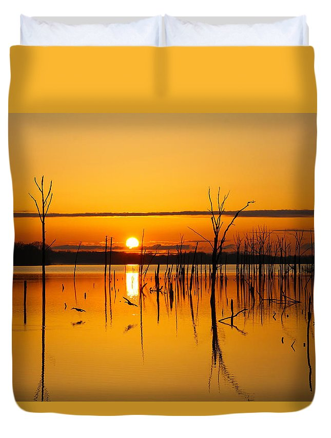 Sunrise Duvet Cover featuring the photograph Golden Sunrise IIi by Roger Becker