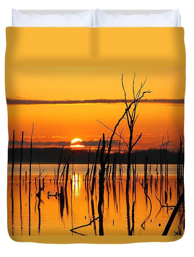 Sunrise Duvet Cover featuring the photograph Golden Sunrise by Roger Becker