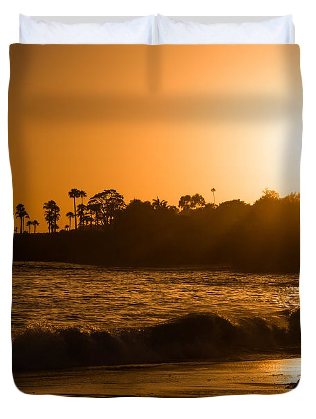 Rushing Water Duvet Cover featuring the photograph Golden Sunset At Laguna by Michael Ver Sprill