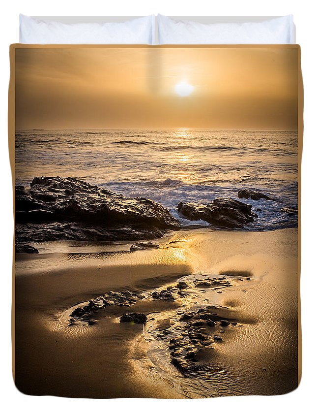 Beach Duvet Cover featuring the photograph Golden Sunset At The Beach by Ernesto Santos