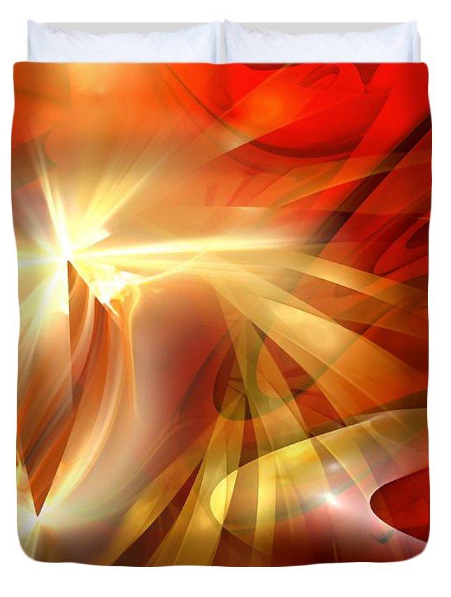 Painting Duvet Cover featuring the digital art Golden Tulip - Marucii by Marek Lutek