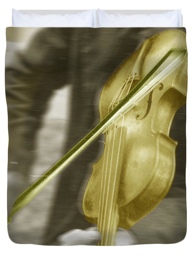 Golden Violin Duvet Cover featuring the photograph Golden Violin by Tony Rubino