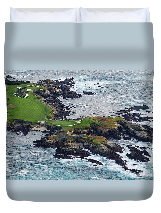 Photography Duvet Cover featuring the photograph Golf Course On An Island, Pebble Beach by Panoramic Images
