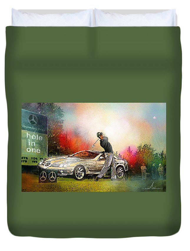 Golf Duvet Cover featuring the painting Golf In Gut Laerchehof Germany 03 by Miki De Goodaboom