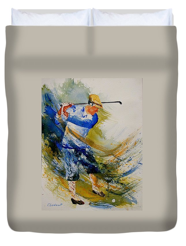 Golf Duvet Cover featuring the painting Golf Player by Pol Ledent