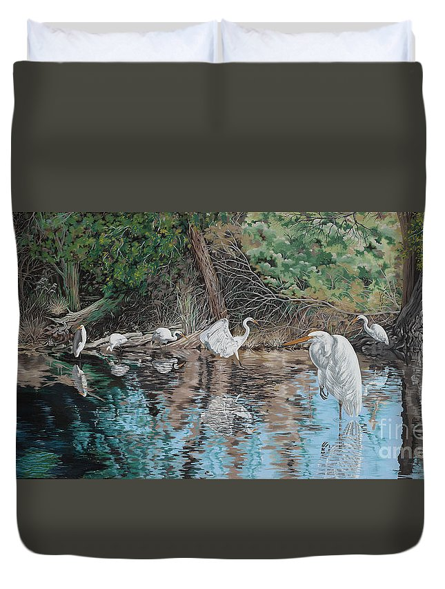 Water Duvet Cover featuring the painting Golf's Gift by John Wilson