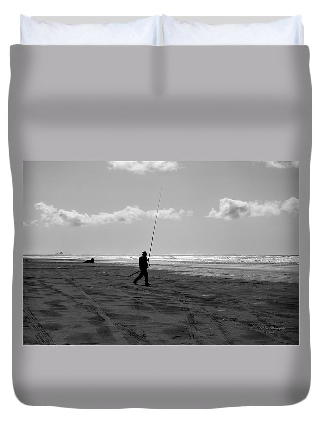 Oceanshores Duvet Cover featuring the photograph Gone Fishin' In Bw by Jeanette C Landstrom