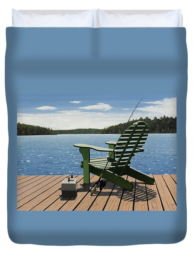 Landscapes Duvet Cover featuring the painting Gone Fishing by Kenneth M Kirsch