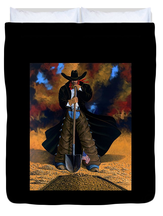 Cowgirl Duvet Cover featuring the painting Gone Too Soon by Lance Headlee