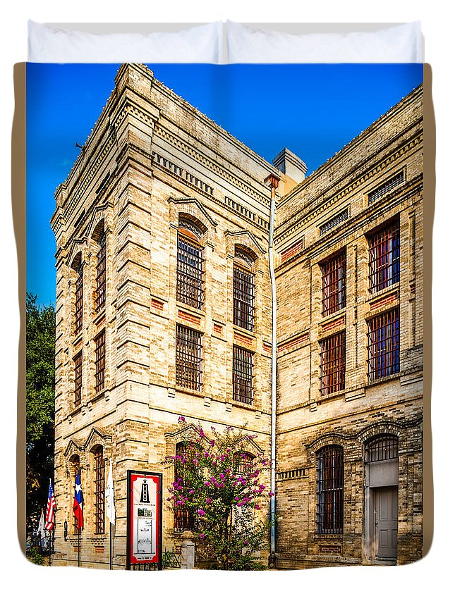 Gonzales County Duvet Cover featuring the photograph Gonzales County Old Jail Museum - Gonzales Texas by Silvio Ligutti