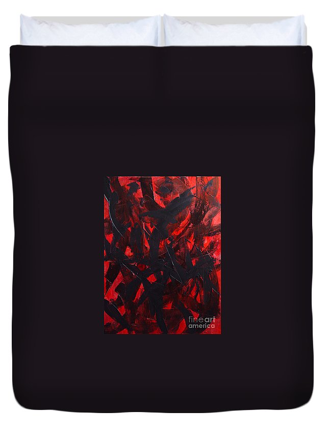 Abstract Duvet Cover featuring the painting Good Bye by Dean Triolo