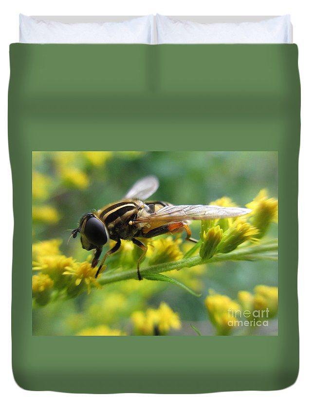 Hoverfly Duvet Cover featuring the photograph Good Guy Hoverfly by Martin Howard