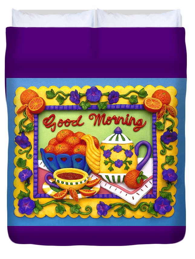 Food Duvet Cover featuring the mixed media Good Morning by Amy Vangsgard