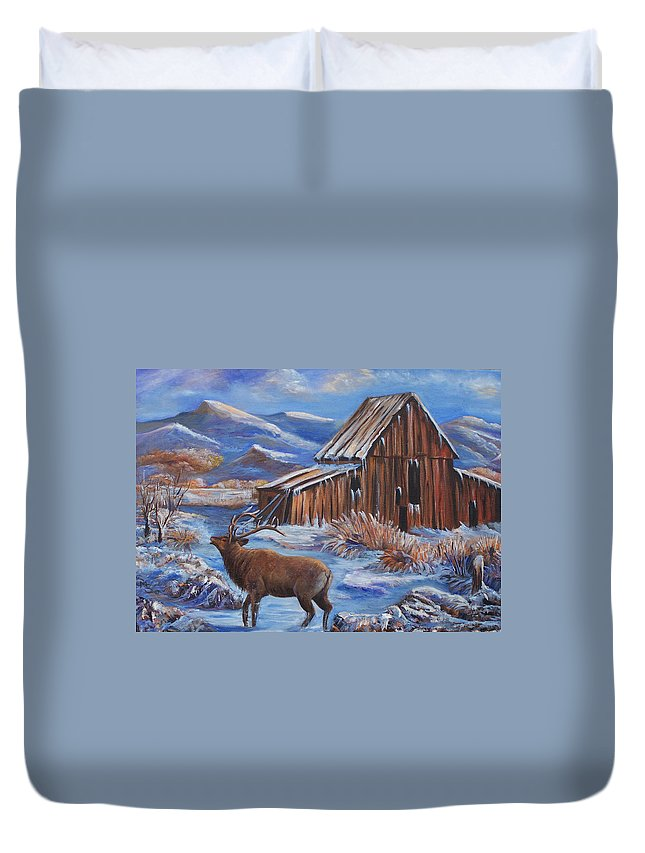 Elk Duvet Cover featuring the painting Good Morning Elk by Sue Stake