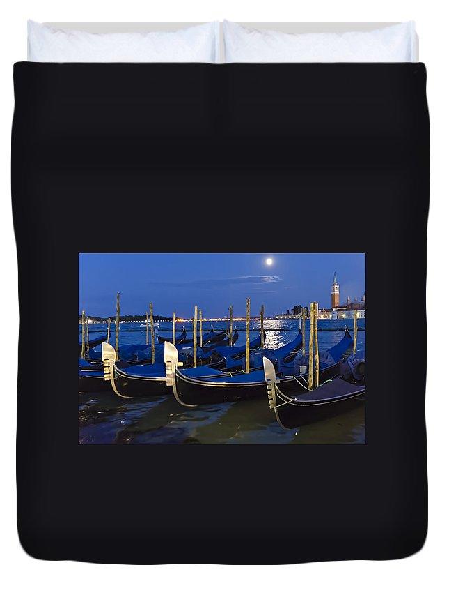 Gondola Duvet Cover featuring the photograph Good Night Venice by Jon Berghoff