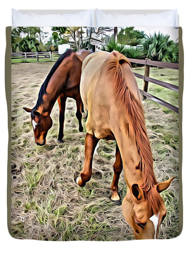 Horses Duvet Cover featuring the photograph Good Spot by Alice Gipson