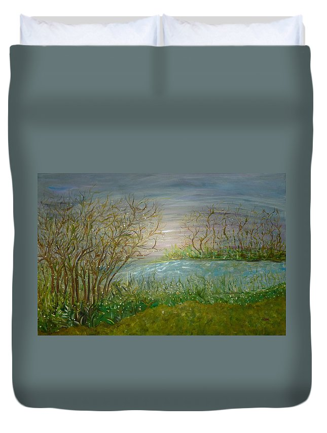 Whimsical Landscape Scene Duvet Cover featuring the painting Goodbye Hello by Sara Credito