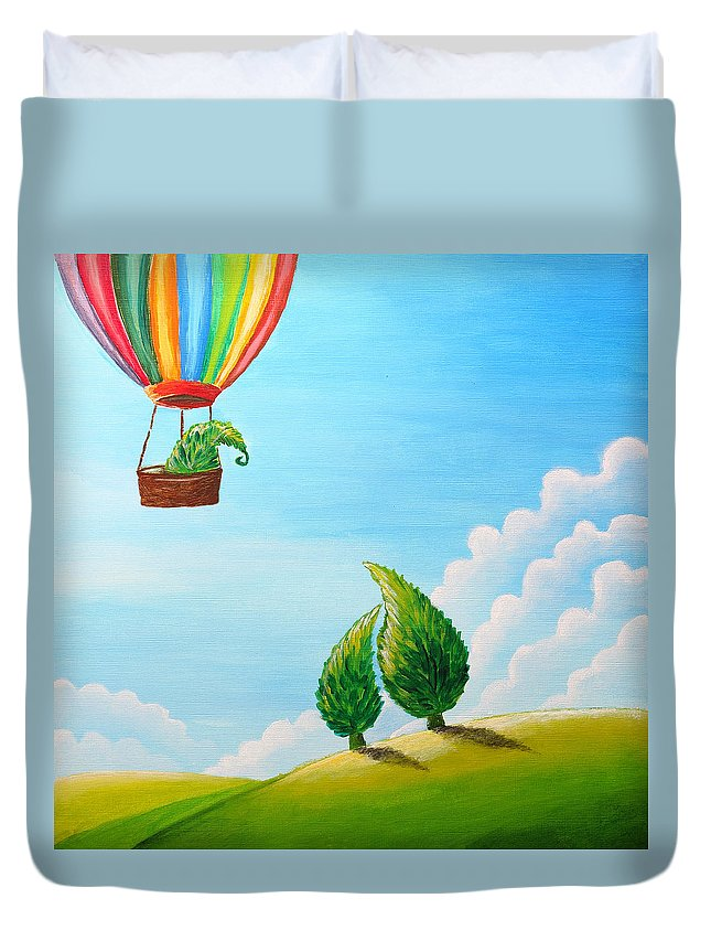 Painting Duvet Cover featuring the painting Goodbye by Nirdesha Munasinghe