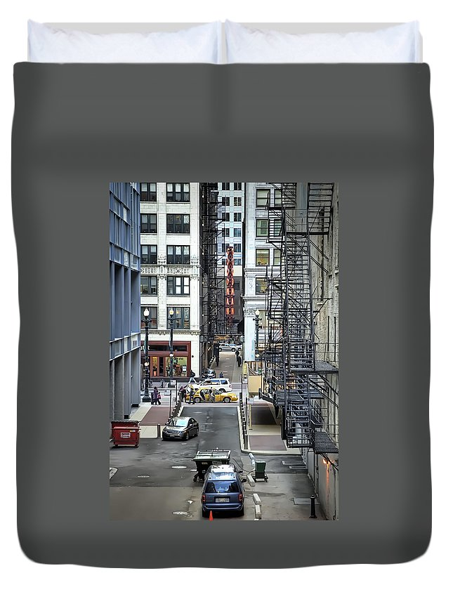 Goodman Duvet Cover featuring the digital art Goodman Chicago by Scott Norris