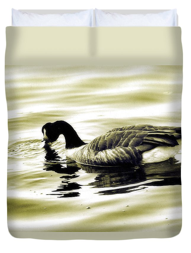 Goose Duvet Cover featuring the photograph Goose Reflecting In The Water by Alice Gipson