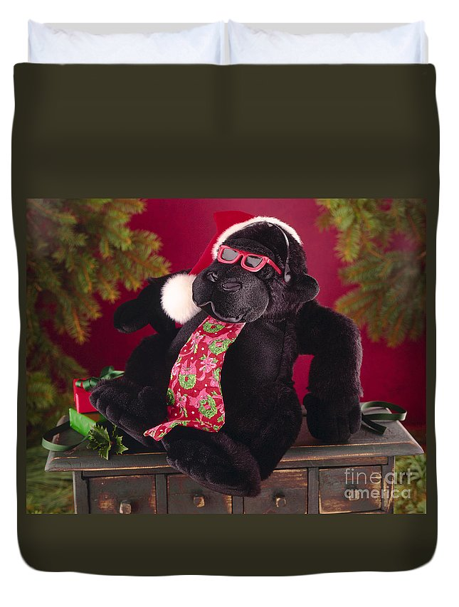 Gorilla Duvet Cover featuring the photograph Gorilla With Shades-faa by Gary Gingrich Galleries