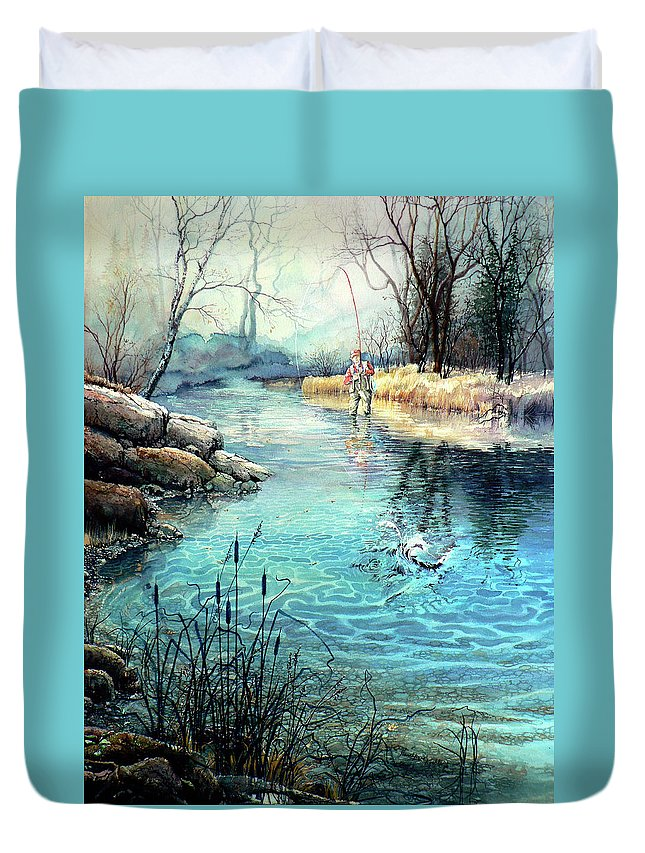 Fly Fishing Duvet Cover featuring the painting Gotcha by Hanne Lore Koehler