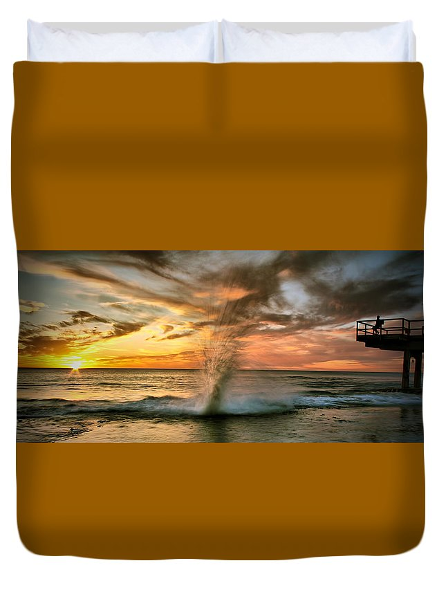 Sunset Duvet Cover featuring the photograph Gotcha by Kym Clarke