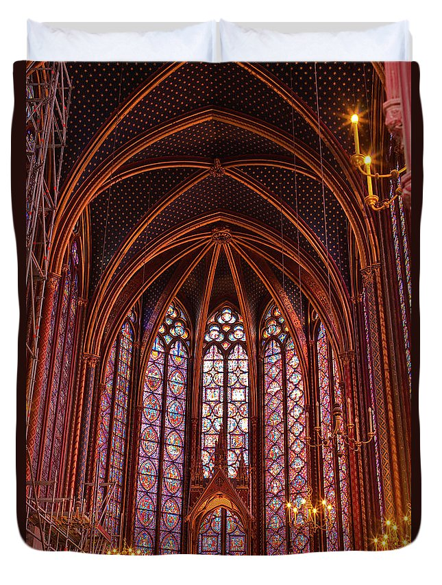 Gothic Style Duvet Cover featuring the photograph Gothic Architecture Inside Sainte by Julian Elliott Photography