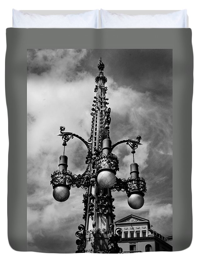 Barcelona Duvet Cover featuring the photograph Gothic Lamp Post In Barcelona by Denise Dube