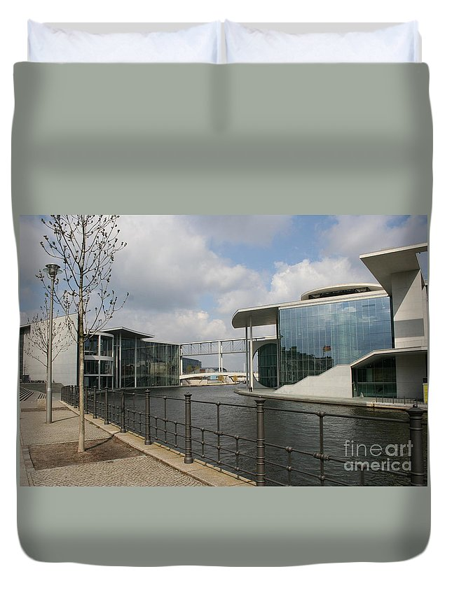 Goverment Building Duvet Cover featuring the photograph Government Building And Spree by Christiane Schulze Art And Photography