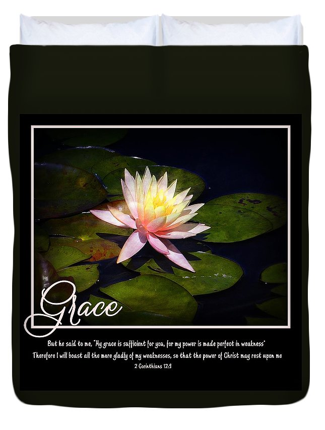 Grace Sufficient Scripture Christian Faith Spiritual Waterlily Pond Pink Duvet Cover featuring the photograph Grace by Elizabeth Mix
