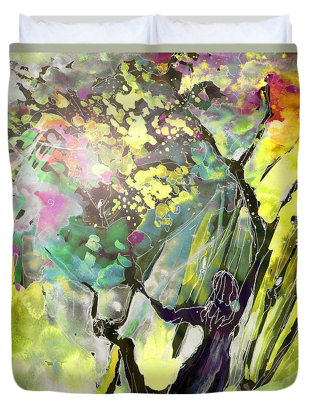 Fantasy Duvet Cover featuring the painting Grace Under Pressure by Miki De Goodaboom