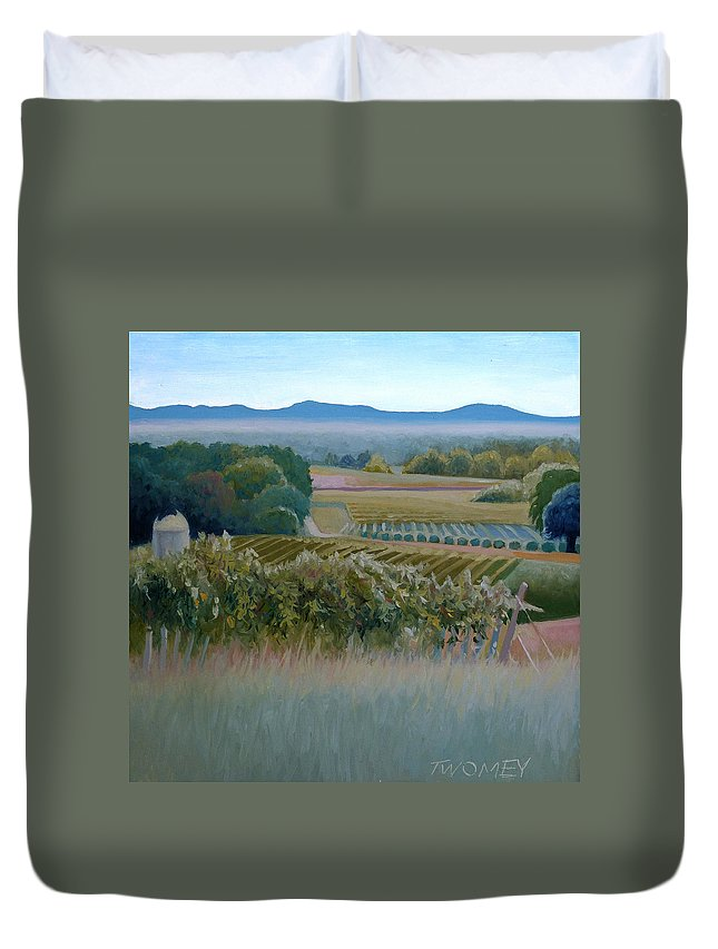Blue Ridge Duvet Cover featuring the painting Grace Vineyards No. 1 by Catherine Twomey