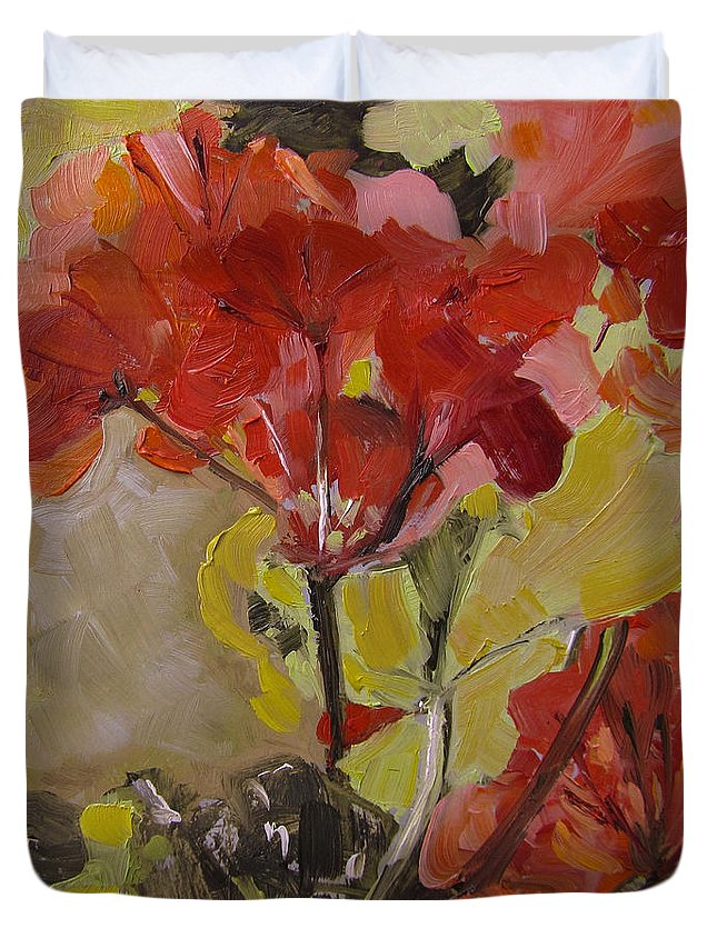Flowers Duvet Cover featuring the painting Graceful Geraniums by Barbara Andolsek