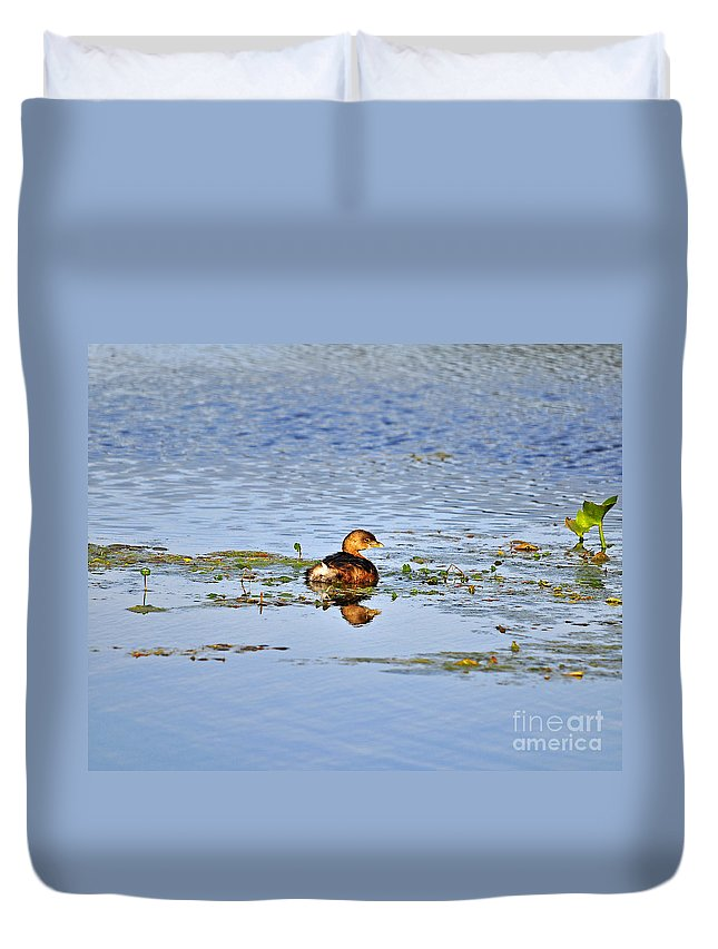 Grebe Duvet Cover featuring the photograph Graceful Grebe by Al Powell Photography USA