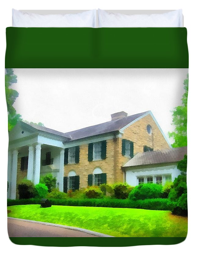 Graceland Mansion Duvet Cover featuring the mixed media Graceland Mansion by Dan Sproul