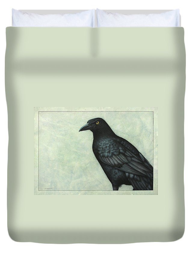 Grackle Duvet Cover featuring the painting Grackle by James W Johnson