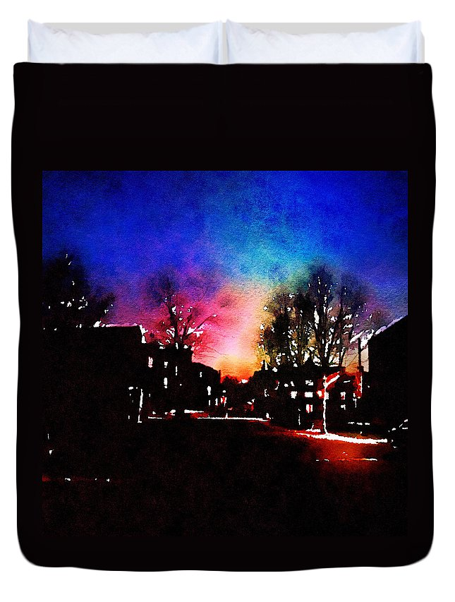 Architecture Duvet Cover featuring the digital art Graduate Housing Princeton University Nightscape by Anna Porter