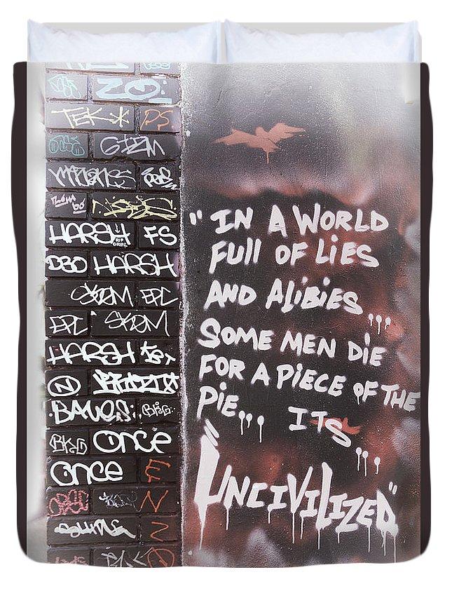 Graffiti Duvet Cover featuring the photograph Graffiti by Erika Weber